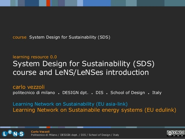 course System Design for Sustainability (SDS)learning resource 0.0System Design for Sustainability (SDS)course and LeNS/Le...