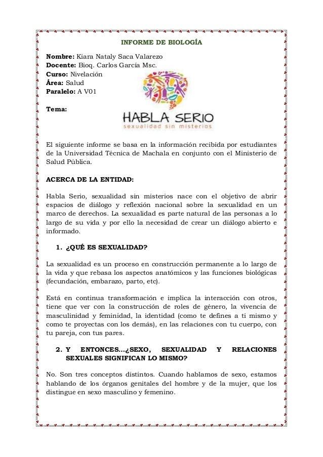 INFORME DE BIOLOGÍA Nombre: Kiara Nataly Saca Valarezo Docente: Bioq. Carlos García Msc. Curso: Nivelación Área: Salud Par...