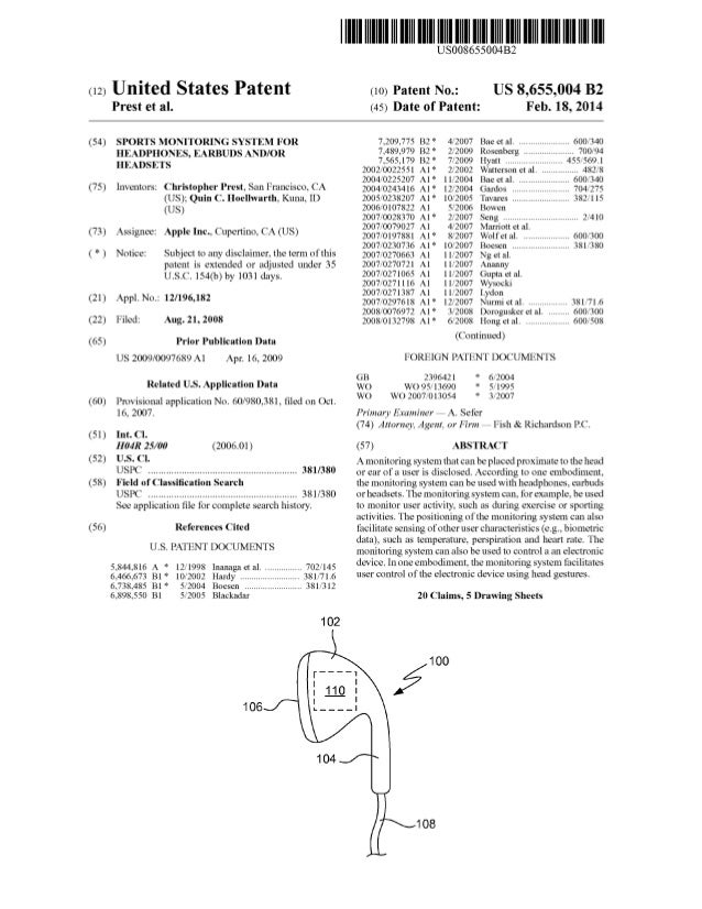 Apple Patent: Sports monitoring system for headphones, earbuds and/or headsets
