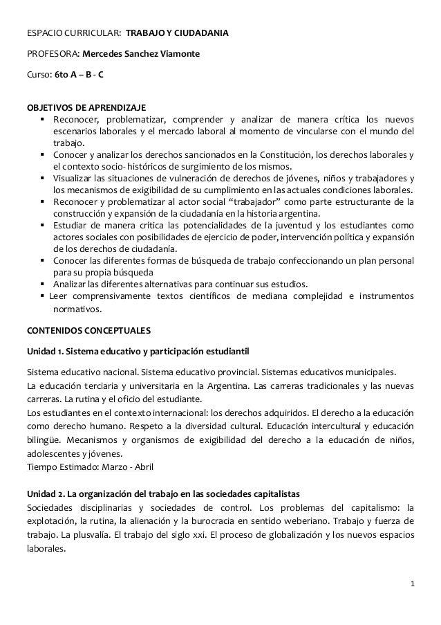1 ESPACIO CURRICULAR: TRABAJO Y CIUDADANIA PROFESORA: Mercedes Sanchez Viamonte Curso: 6to A – B - C OBJETIVOS DE APRENDIZ...