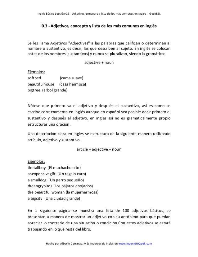 Inglés Básico Lección 0.3 - Adjetivos, concepto y lista de los más comunes en inglés - iGeekESL Hecho por Alberto Carranza...