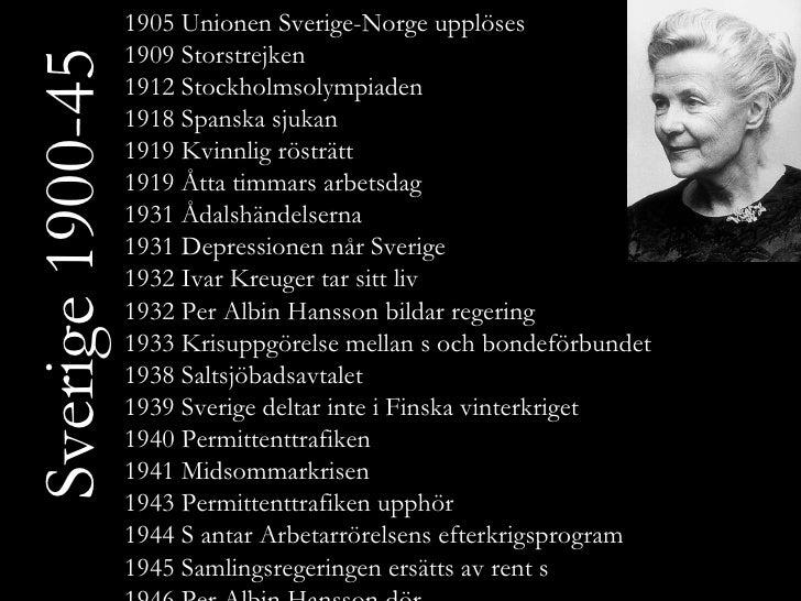 Sverige 1900-45 1905 Unionen Sverige-Norge upplöses 1909 Storstrejken 1912 Stockholmsolympiaden 1918 Spanska sjukan 1919 K...