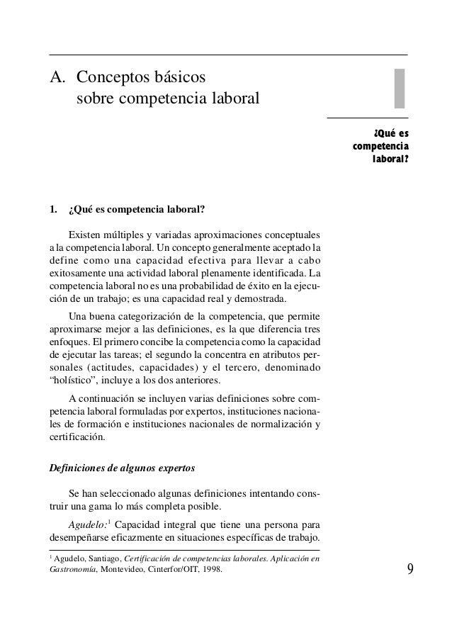 ' 1¿Qué es competencia laboral? A. Conceptos básicos sobre competencia laboral 1. ¿Qué es competencia laboral? Existen múl...