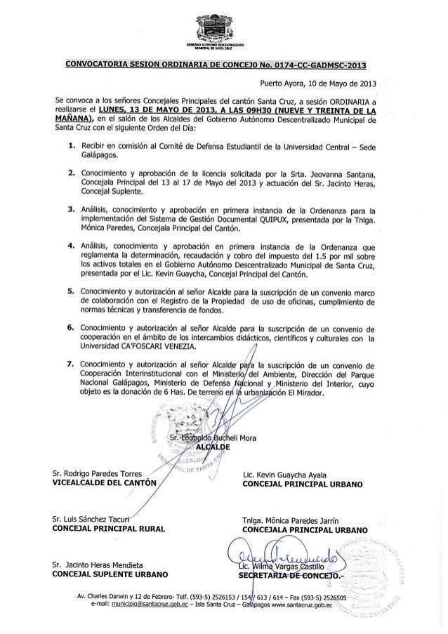 Convocatoria a Sesión Ordinaria de Concejo Nro. 0174-CC-GADMSC-2013