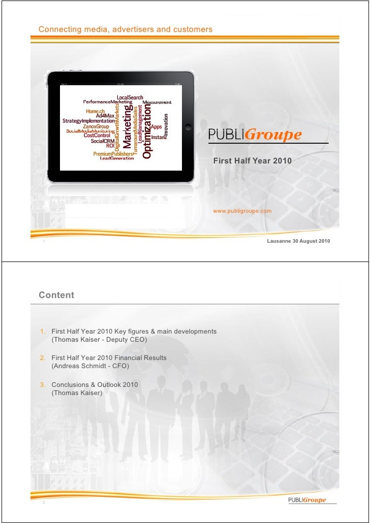 PubliGroupe Half Year Report 2010