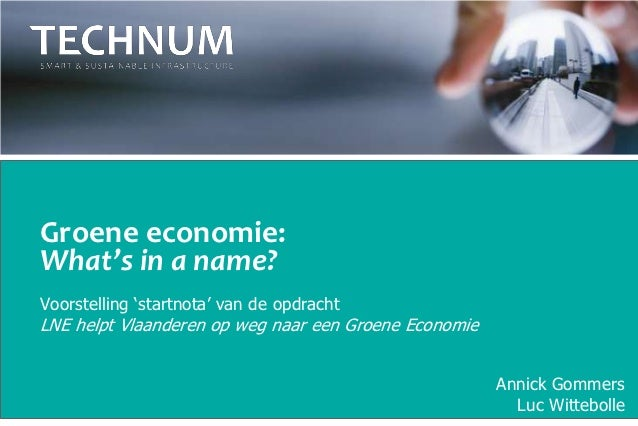 Groene economie: 'What's in a name'?