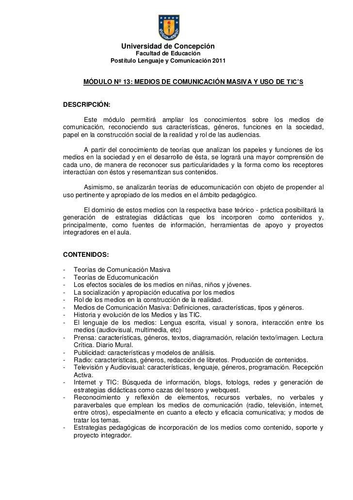 Universidad de Concepción                         Facultad de Educación                Postítulo Lenguaje y Comunicación 2...