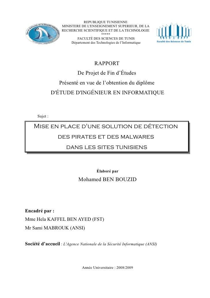 REPUBLIQUE TUNISIENNE                     MINISTERE DE L'ENSEIGNEMENT SUPERIEUR, DE LA                     RECHERCHE SCIEN...