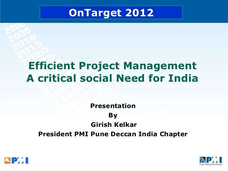 Welcome speech_Efficient project management - Girish Kelkar
