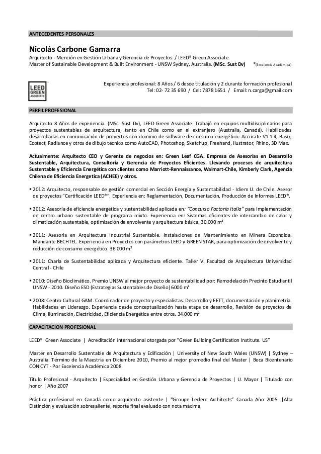 Nicolas Carbone Gamarra   Arqto. MSc Desarrollo Sustentable. CV