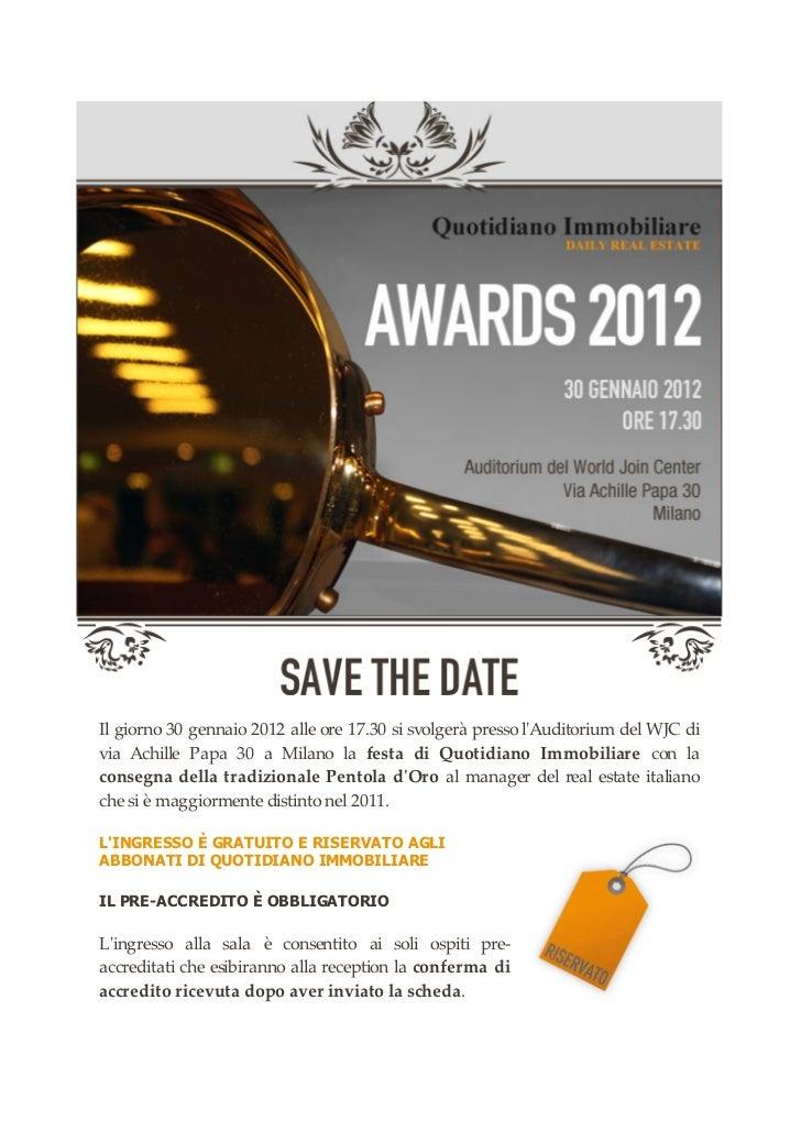 Massimo Caputi FIMIT SGR - Pentola Oro 2012 Evento premiazione