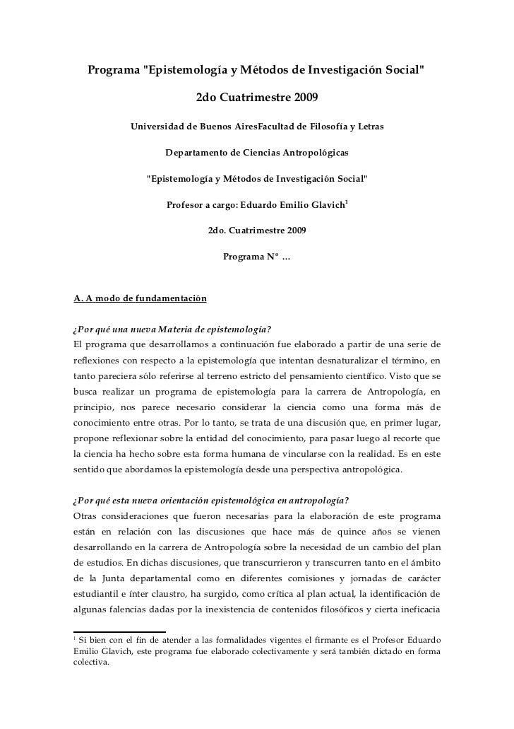 """Programa """"Epistemología y Métodos de Investigación Social""""                               2do Cuatrimestre 2009            ..."""
