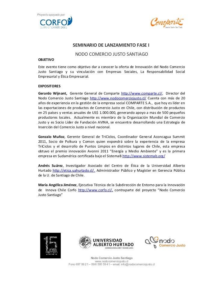 Proyecto apoyado por:                           SEMINARIO DE LANZAMIENTO FASE I                             NODO COMERCIO ...