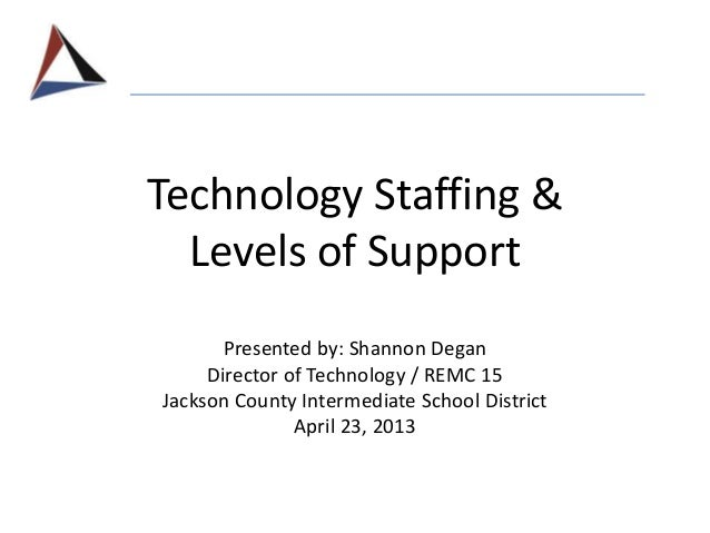 Technology Staffing & Levels of Support Presented by: Shannon Degan Director of Technology / REMC 15 Jackson County Interm...