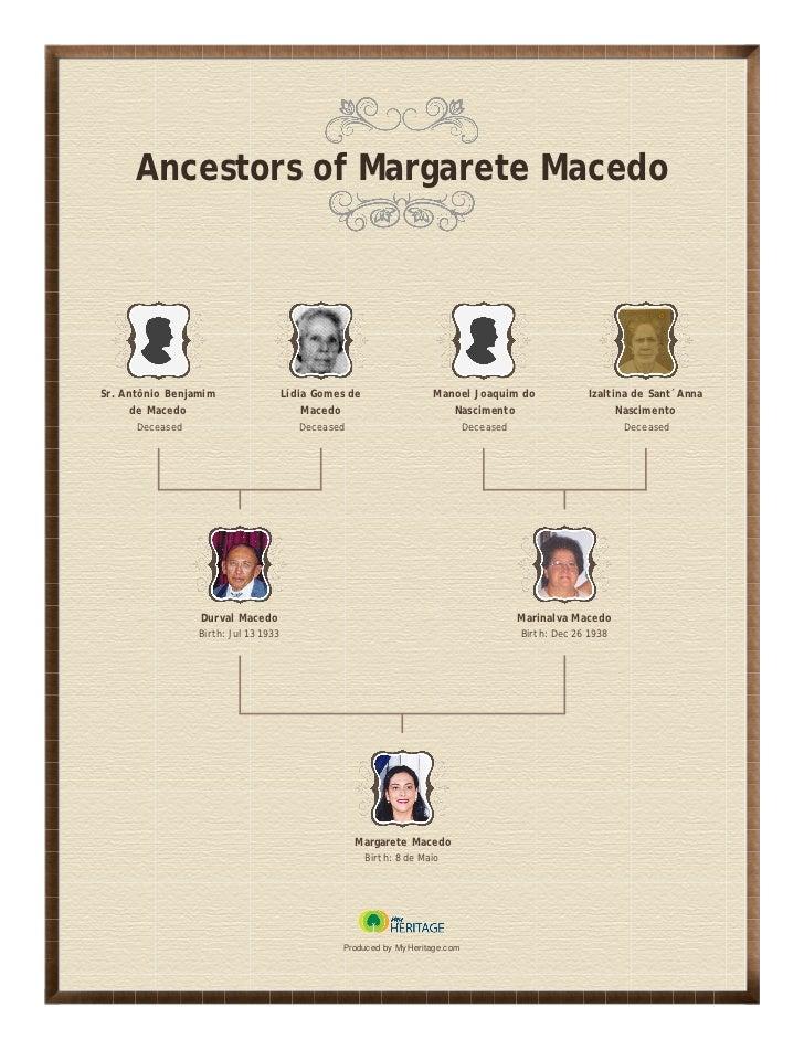 Ancestors of Margarete MacedoSr. Antônio Benjamim                  Lídia Gomes de                 Manoel Joaquim do       ...