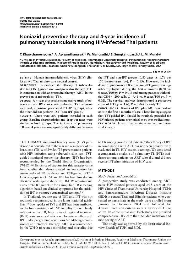 INT J TUBERC LUNG DIS 16(3):336–341© 2012 The Unionhttp://dx.doi.org/10.5588/ijtld.11.0402Published online 5 January 2012I...