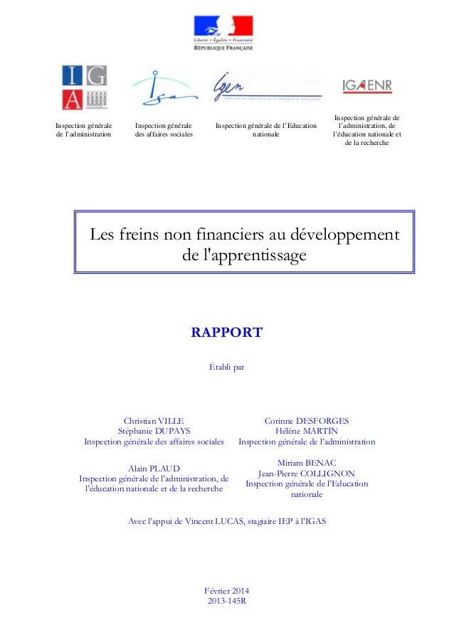 Inspection générale de l'administration Inspection générale des affaires sociales Inspection générale de l'Education natio...