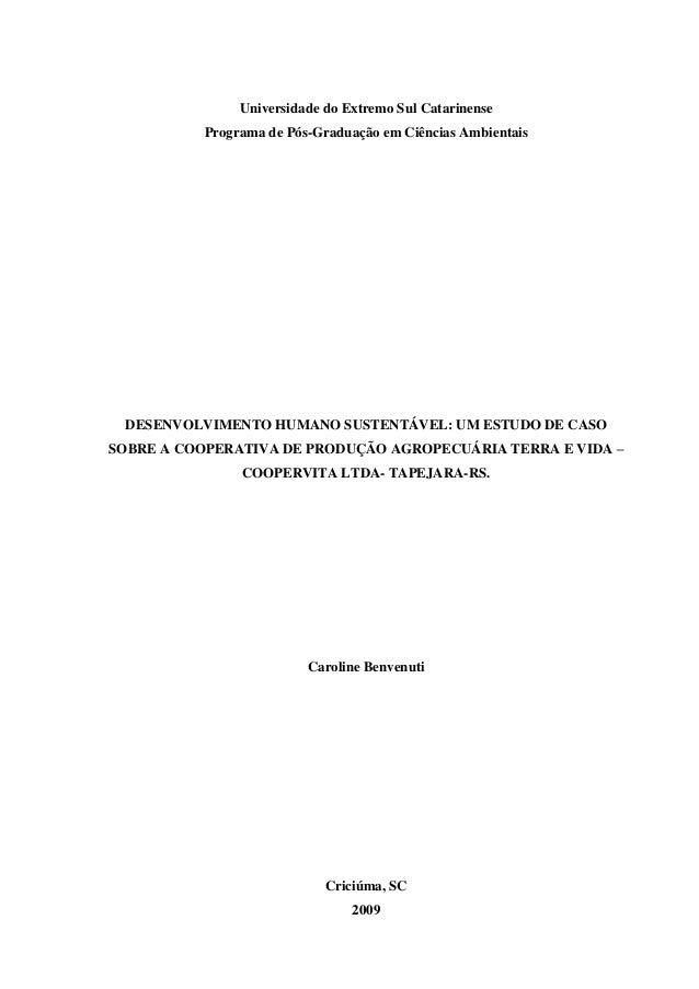 Universidade do Extremo Sul Catarinense          Programa de Pós-Graduação em Ciências Ambientais DESENVOLVIMENTO HUMANO S...