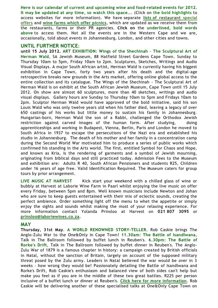 Here is our calendar of current and upcoming wine and food-related events for 2012.It may be updated at any time, so watch...