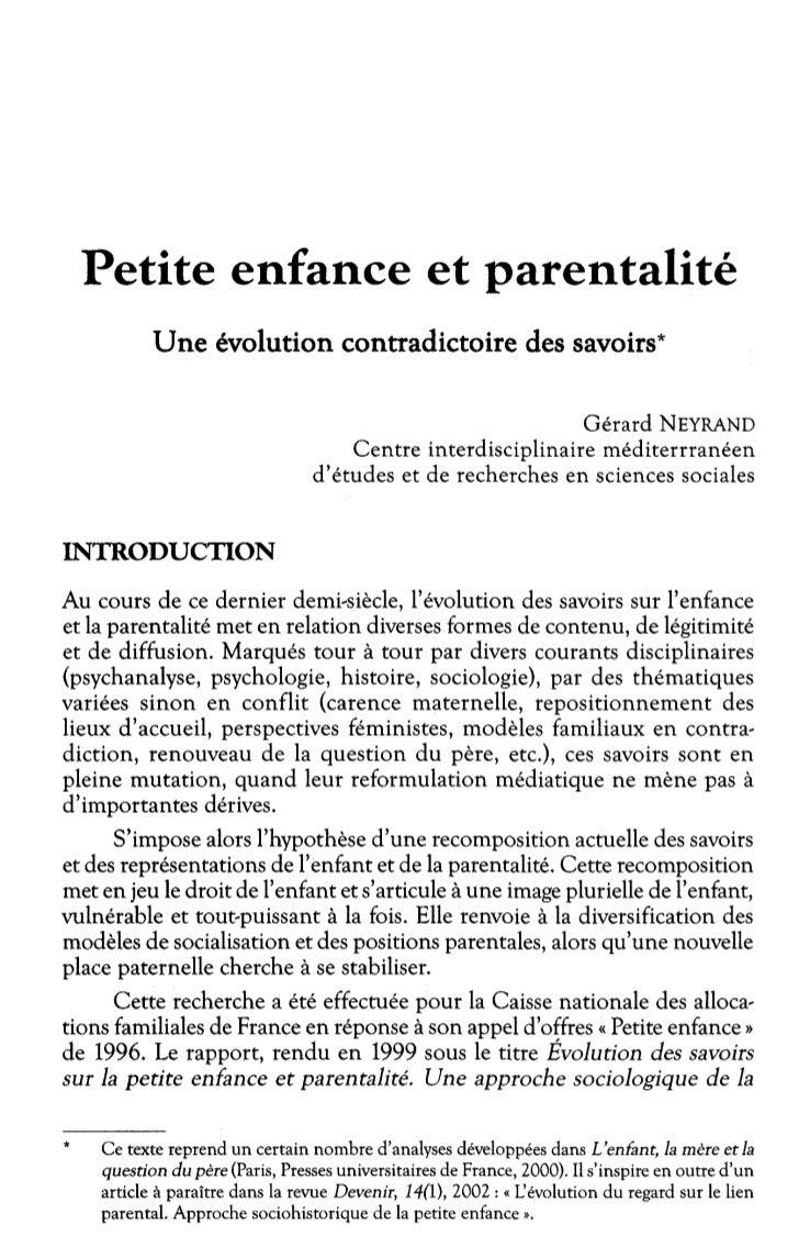 Petite enfance et parentalité, Gérard Neyrand