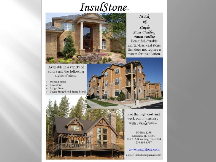 """InsulStone               ™     Added Value Design Solutions:Cost CompetitiveInsulation Value (2 ¼"""" foam = R-11)Damp Wal..."""