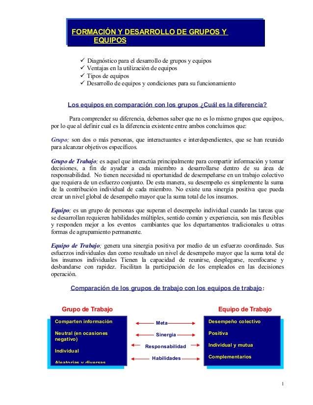  Diagnóstico para el desarrollo de grupos y equipos  Ventajas en la utilización de equipos  Tipos de equipos  Desarrol...