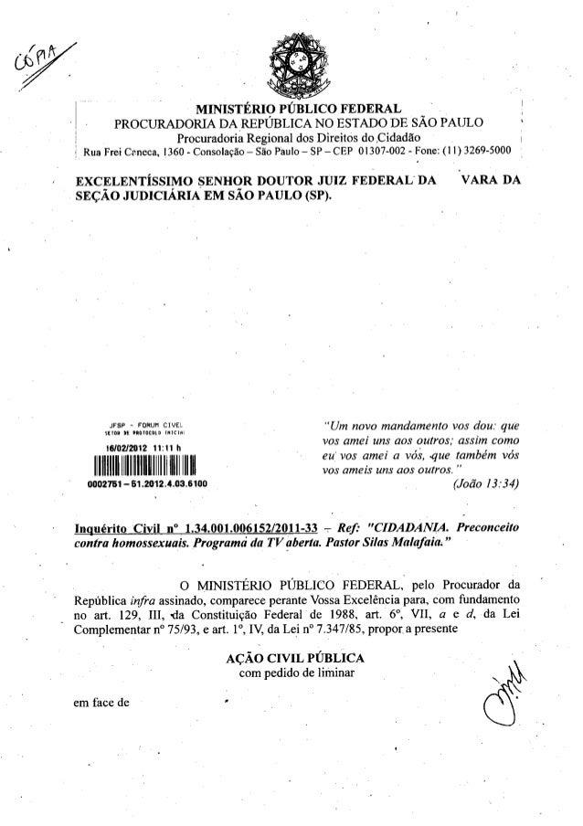 MINISTERIO PUBLIC() FEDERAL PROCURADORIA DA REPUBLICA NO ESTADO DE SAO PAULO Procuradoria Regional dos Direitos do ,Cidadã...