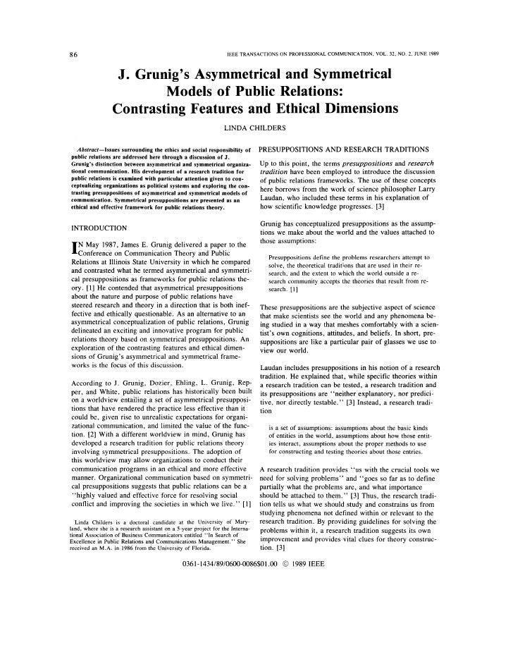 Grunig\'s Symmetrical & Asymmetrical Models of Public Relations