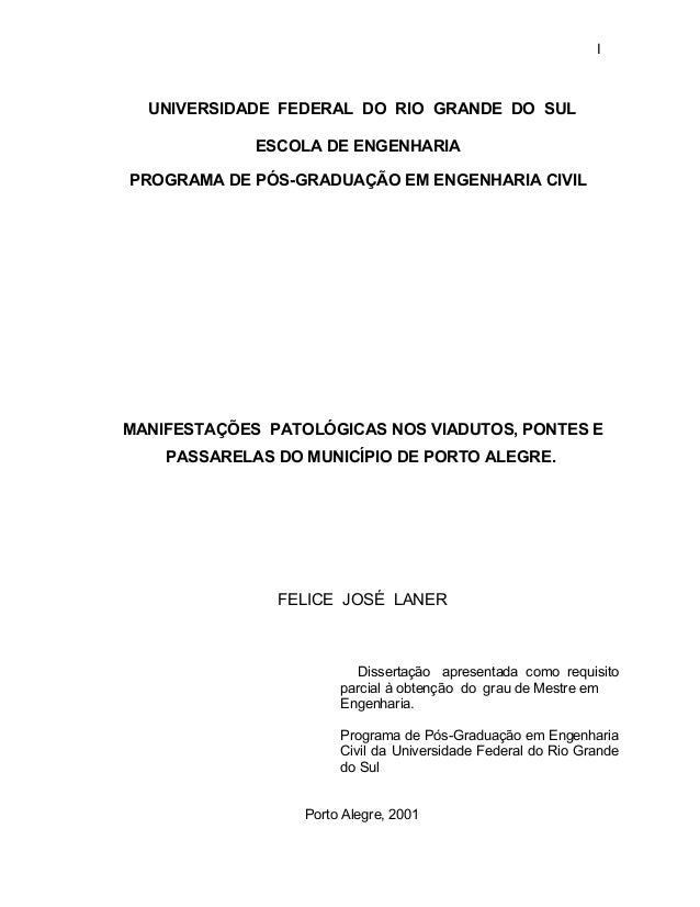 I UNIVERSIDADE FEDERAL DO RIO GRANDE DO SUL ESCOLA DE ENGENHARIA PROGRAMA DE PÓS-GRADUAÇÃO EM ENGENHARIA CIVIL MANIFESTAÇÕ...