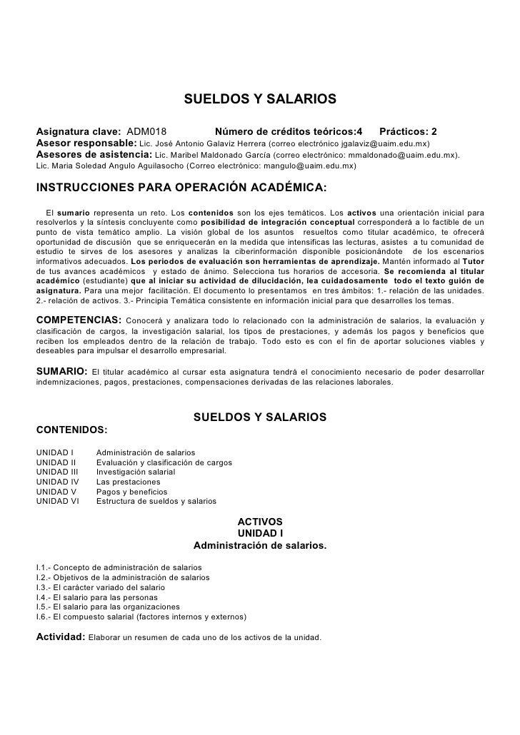 SUELDOS Y SALARIOSAsignatura clave: ADM018                Número de créditos teóricos:4              Prácticos: 2Asesor re...