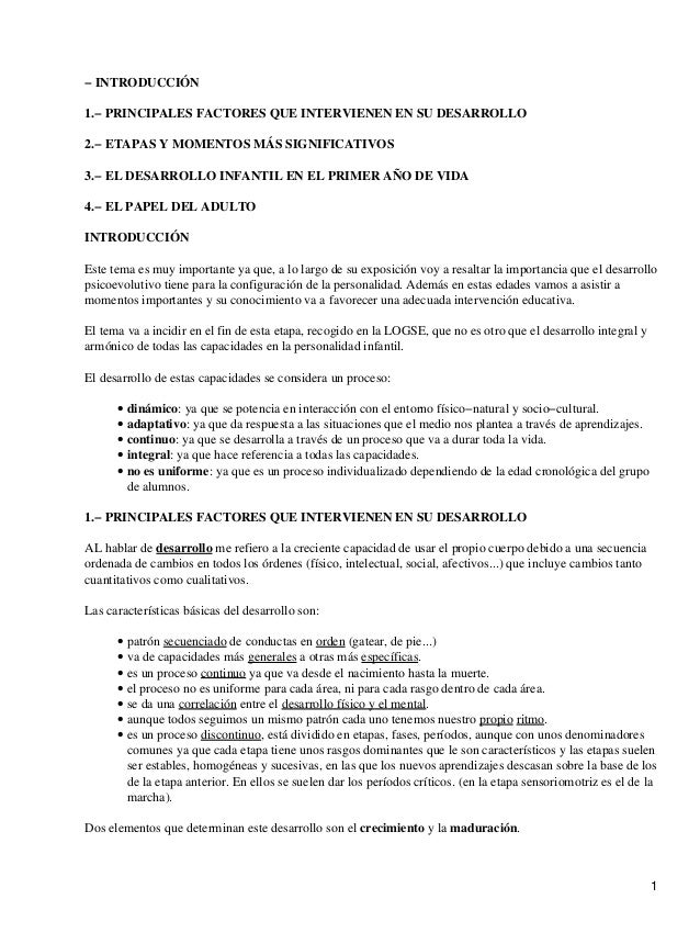 − INTRODUCCIÓN 1.− PRINCIPALES FACTORES QUE INTERVIENEN EN SU DESARROLLO 2.− ETAPAS Y MOMENTOS MÁS SIGNIFICATIVOS 3.− EL D...
