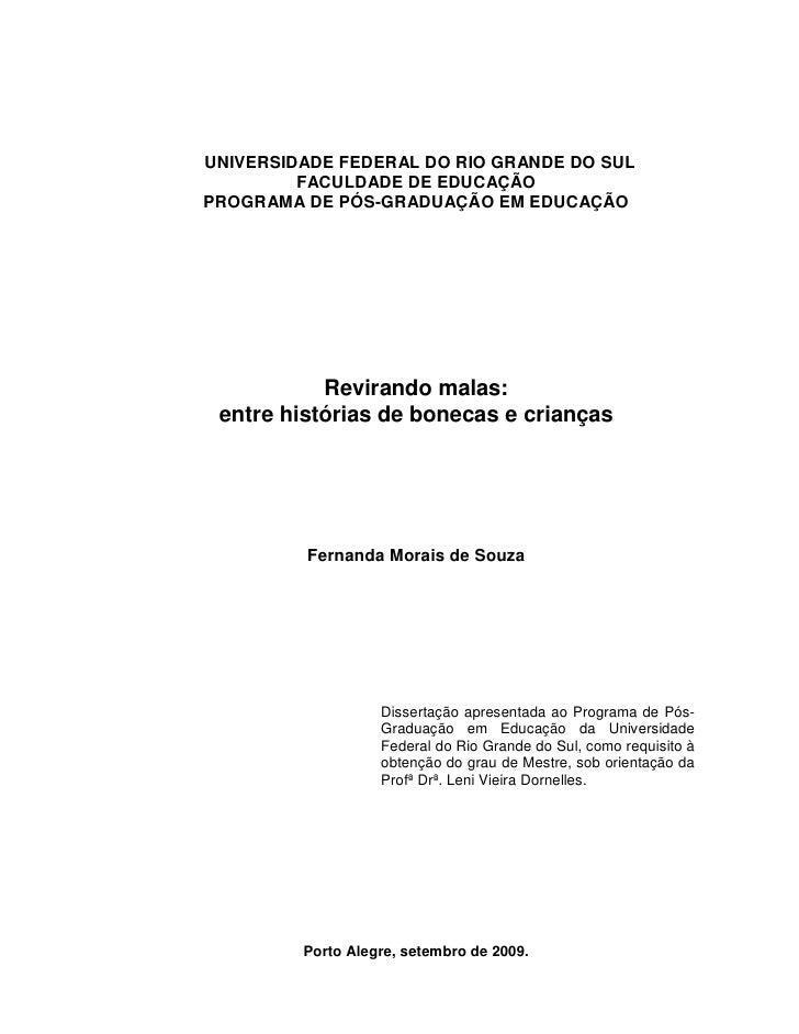 1UNIVERSIDADE FEDERAL DO RIO GRANDE DO SUL         FACULDADE DE EDUCAÇÃOPROGRAMA DE PÓS-GRADUAÇÃO EM EDUCAÇÃO           Re...