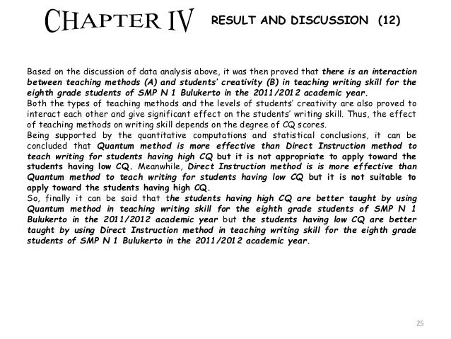 results discussion thesis writing Together with the nyenrode guidelines for thesis writing:  chapter 5:  discussion (a discussion on the outcomes of the results, which.