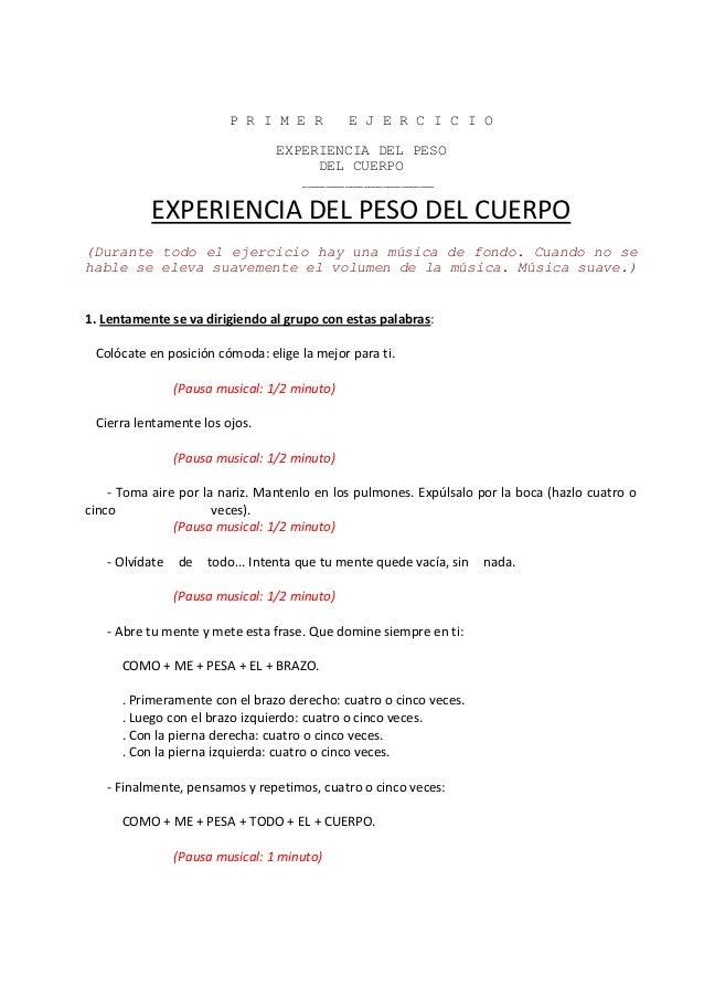 P R I M E R E J E R C I C I O EXPERIENCIA DEL PESO DEL CUERPO ____________________________ EXPERIENCIA DEL PESO DEL CUERPO...