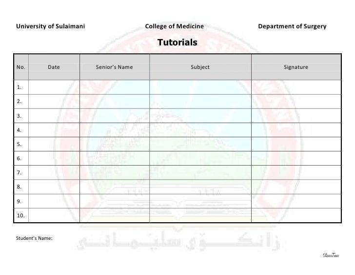 Surgery 6th year, Requirement Sheet (Tutorials)