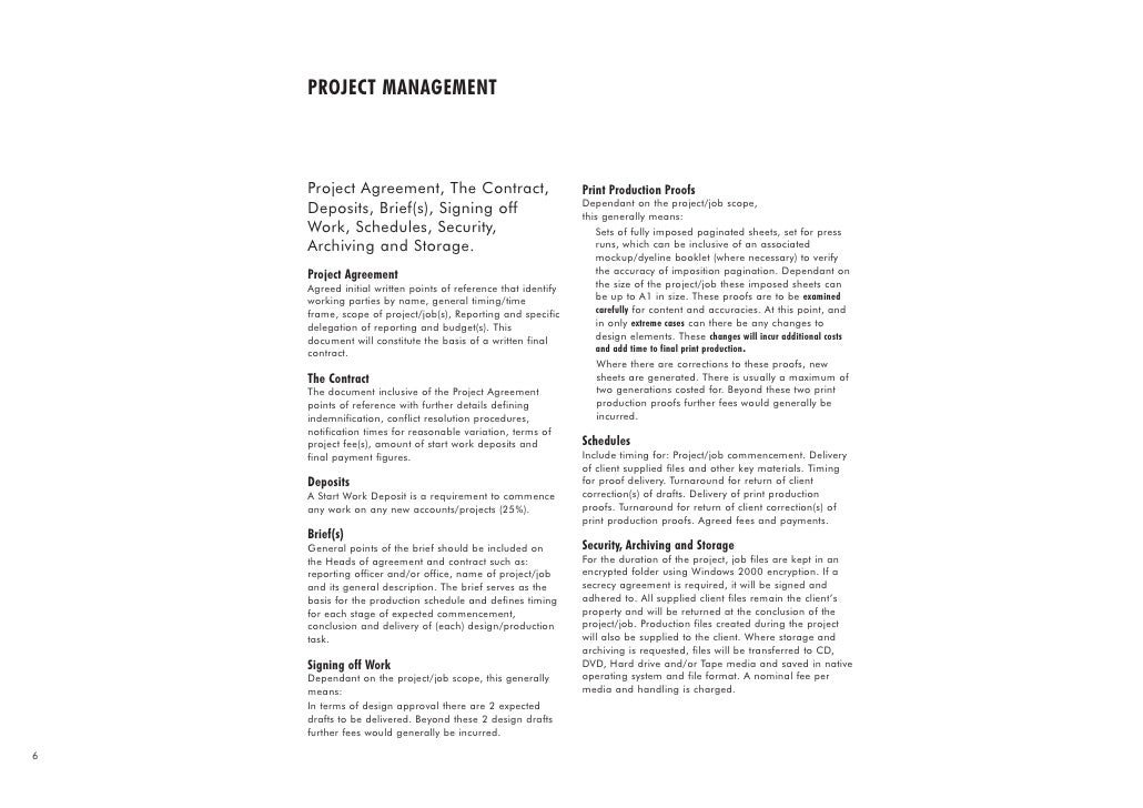 Project management project agreement the contract print production