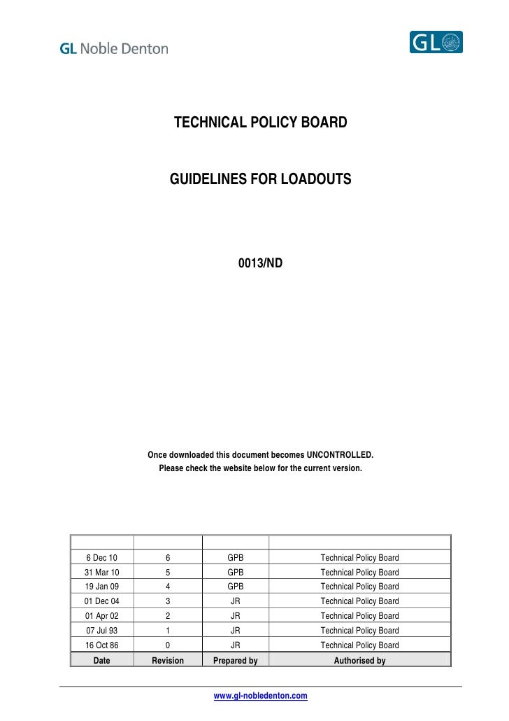 TECHNICAL POLICY BOARD                 GUIDELINES FOR LOADOUTS                                  0013/ND            Once do...