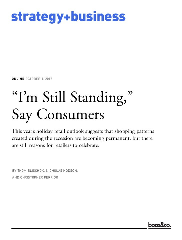 """""""I'm Still Standing,"""" Say Consumers - Holiday Retail Outlook"""