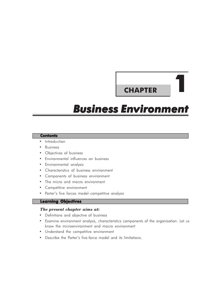 CHAPTER                  1                   Business EnvironmentContents• Introduction• Business• Objectives of business•...