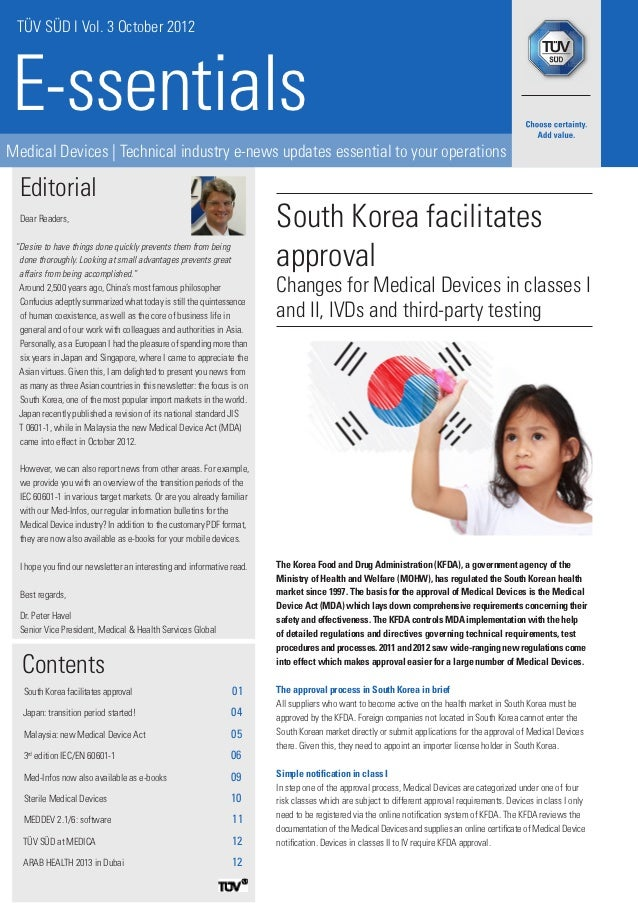 TÜV SÜD I Vol. 3 October 2012E-ssentialsMedical Devices   Technical industry e-news updates essential to your operations  ...