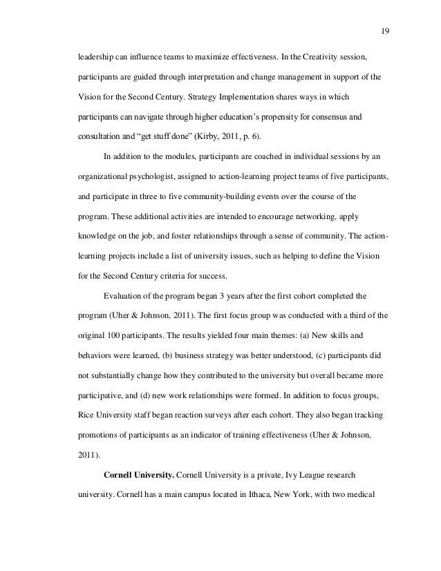 Dissertation on training effectiveness