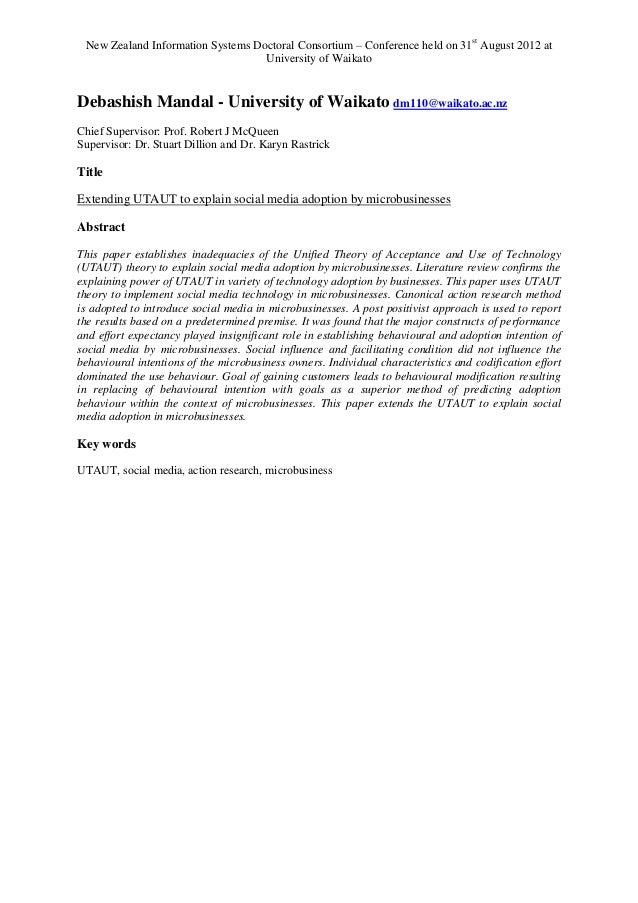 New Zealand Information Systems Doctoral Consortium – Conference held on 31st August 2012 at                              ...