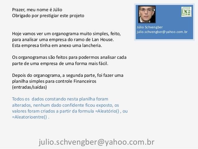 Prazer, meu nome é Júlio Obrigado por prestigiar este projeto  Hoje vamos ver um organograma muito simples, feito, para an...