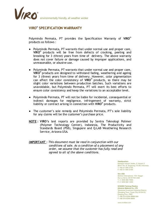 VIRO SPECIFICATION WARRANTY Polymindo Permata, PT provides the Specification Warranty of VIRO products as follows : ● Poly...