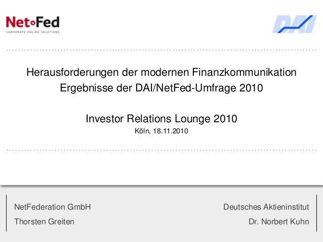 NetFederation: Ergebnisse der DAI/NetFed-Umfrage 2010