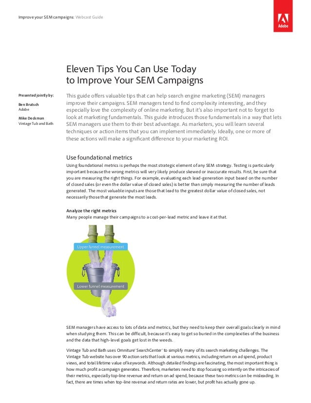 Improve your SEM campaigns: Webcast Guide                        Eleven Tips You Can Use Today                        to I...