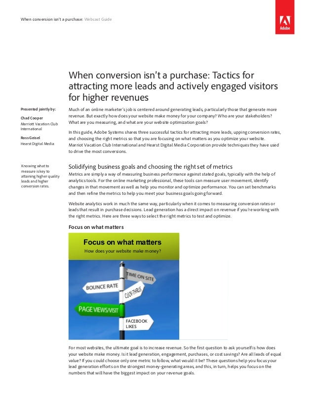 When conversion isn't a purchase: Webcast Guide                           When conversion isn't a purchase: Tactics for   ...