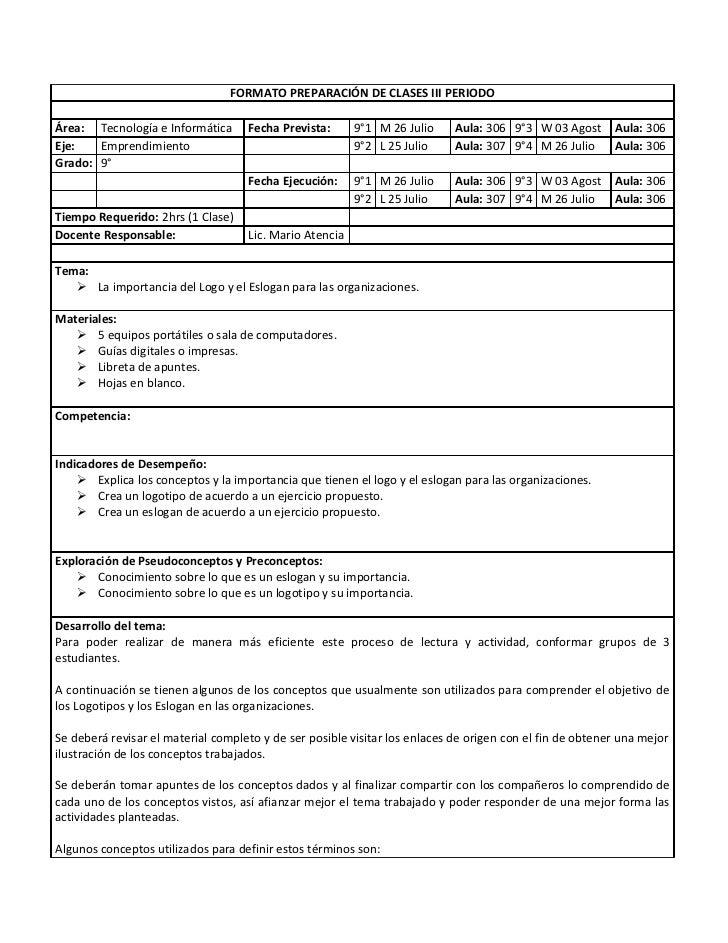002 Formato Preparacin De Clases Logotipo Y Eslogan | MEJOR CONJUNTO