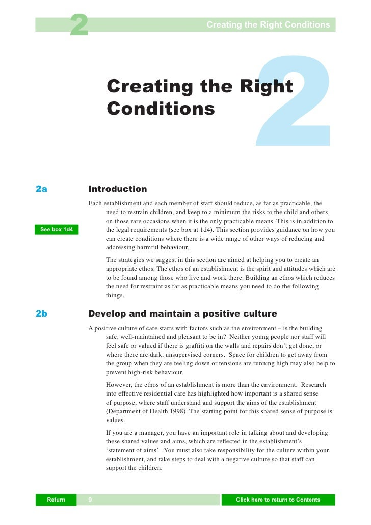 2                                             Creating the Right Conditions     2a                     Creating the Right ...