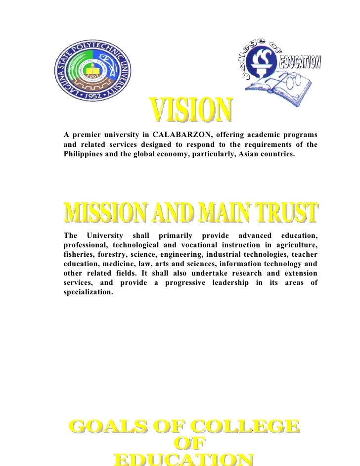 A premier university in CALABARZON, offering academic programs and related services designed to respond to the requirement...